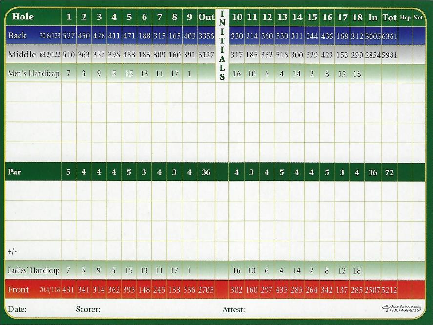 Scorecard & Layout - Hidden Valley Golf Club